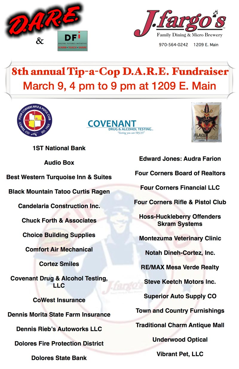 Sponsor list for Tip-A-Cop for D.A.R.E. and DFI event at JFargos